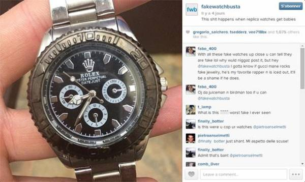 Un exemple de contrefaçons vu sur le compte Instagram de Fakewatchbusta, cette « Rolex » avec la lunette dans un plastique plus que douteux !