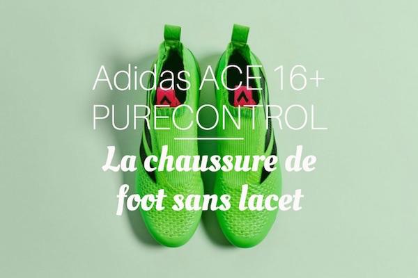 chaussure de foot sans lacet Adidas ACE 16+ PURECONTROL homme