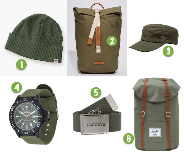 mode homme vert olive tendance accessoire montre bonnet casquette sac ceinture