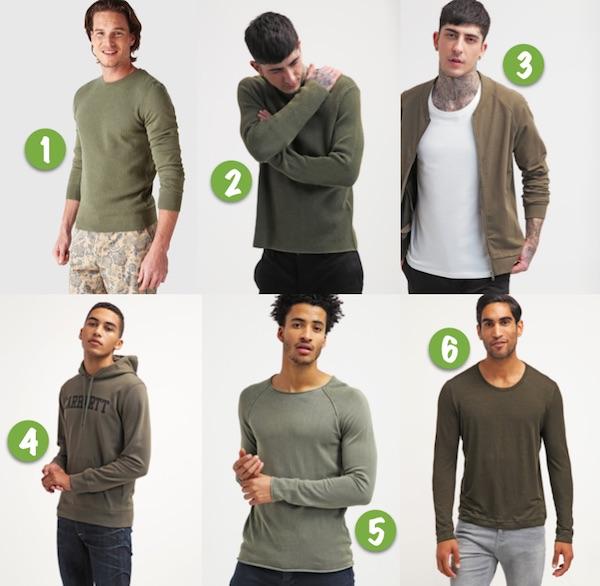 mode homme vert olive tendancepull sweat