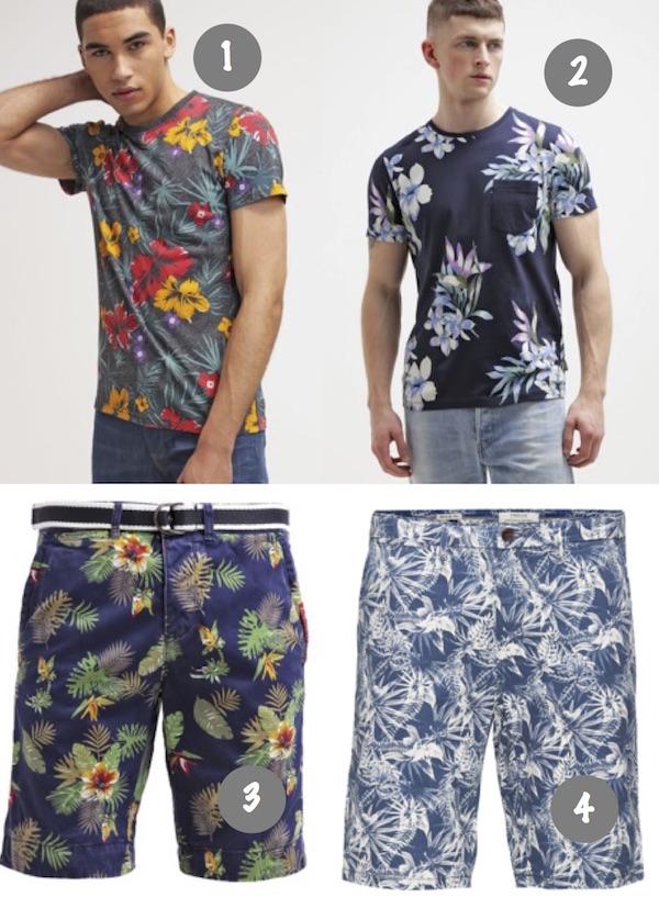 t shirt à fleurs homme floral fleurie petites fleurs short