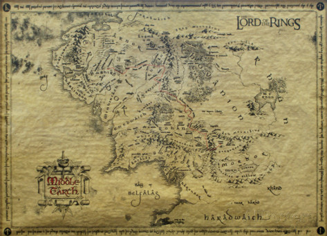 poster de film culte le-seigneur-des-anneaux-carte-de-la-terre-du-milieu