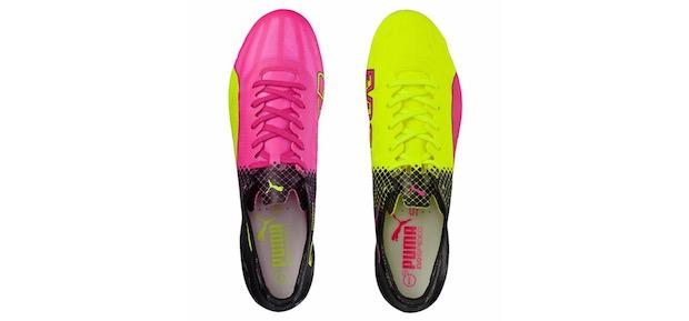 chaussures griezmann jaune rose