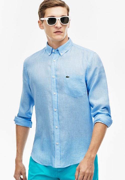 vetement en lin homme chemise lacoste