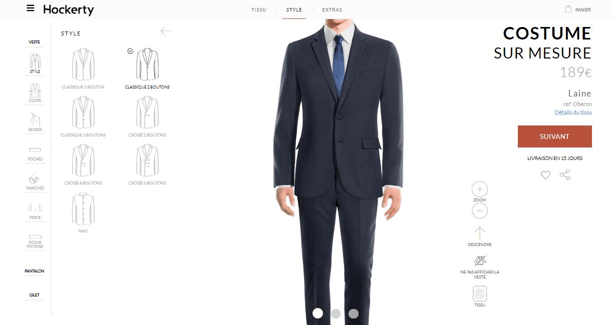 sur mesure hockerty costume large choix forme couleur