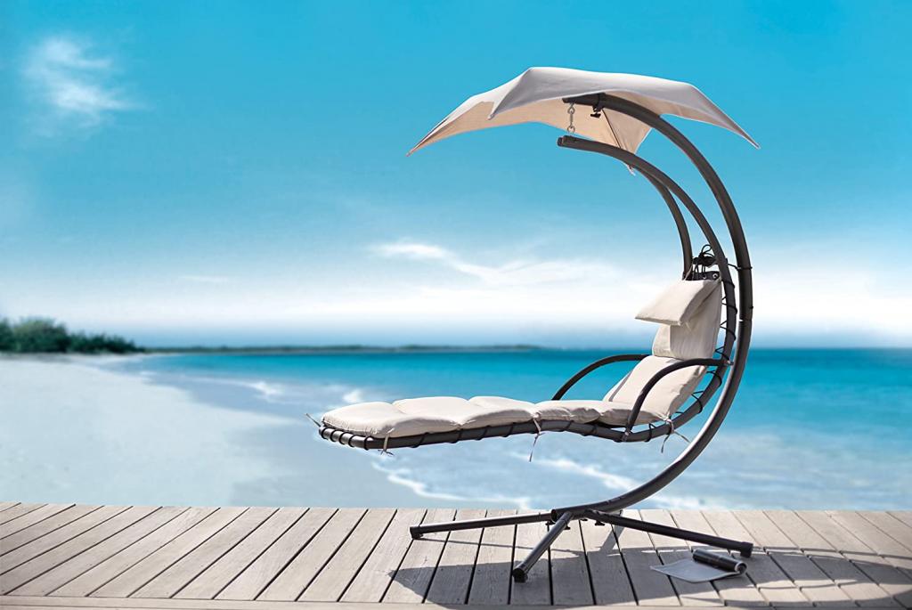 amenagement terrasse fauteuil long bascule balancelle hamac chaise longue parasol parsoleil