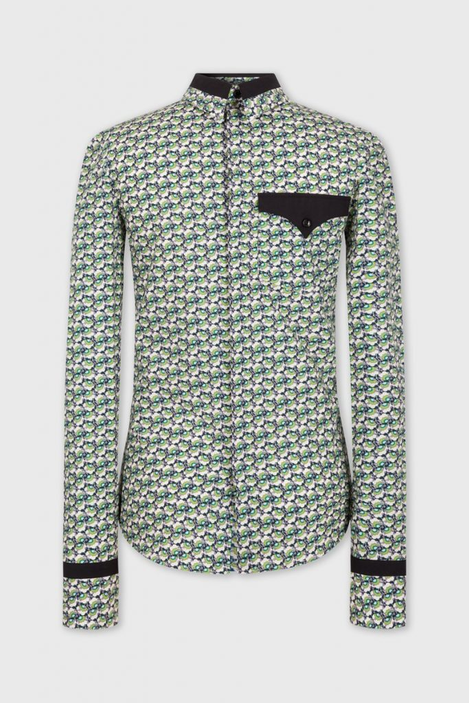 Chemise paco rabane pop culture imprime vert colore look mode homme luxe 2020
