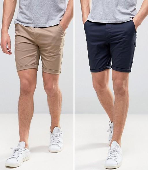 Lot deux shorts chino classe pantacourt ete look tenue homme asos
