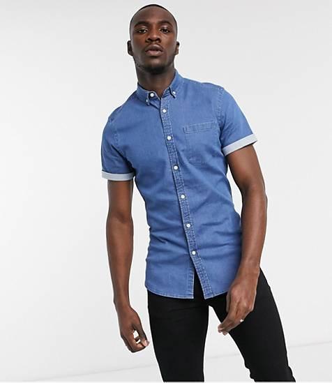 chemise denim jean homme manches courtes look ete tenue 2020 asos