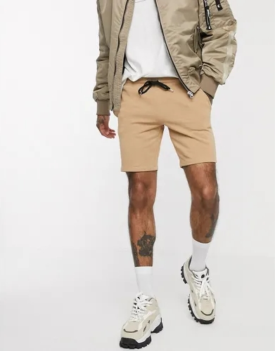 short asos homme ajuste jersey confortable court fauve camel marron beige cordon classe ete tenue look 2020