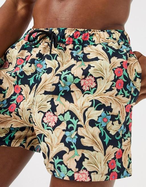 short vintage homme imprime motif baroque or couleur floral fleur vegetal vingtage ete tenue look asos 2020