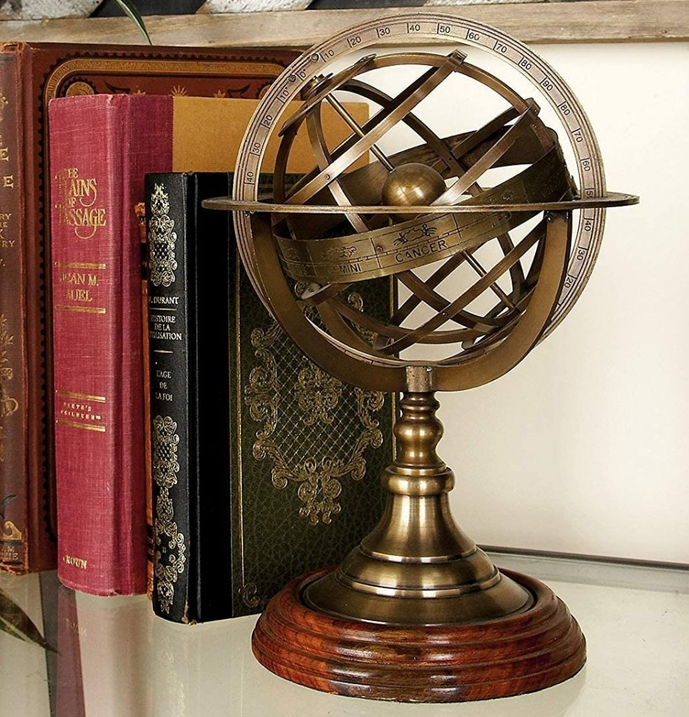 decoration maison vintage retro ancien replique meuble globe metal steampunk salon terre