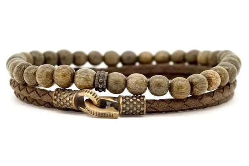 bracelet jonc cuir cordon acier argent made in france fabriquer fabrique bois homme bijoux idee cadeau fete des peres papa garcon bijou accessoires