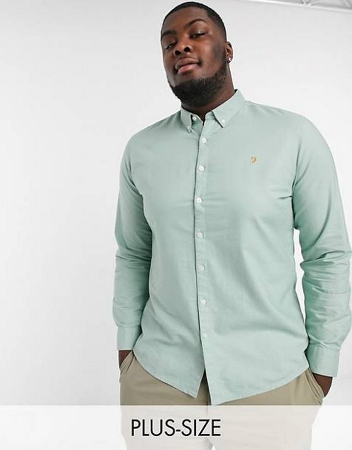 Costume homme bleu carreau joyeux classe grande taille xxl morphologie chemise bleu vert clair manche longue