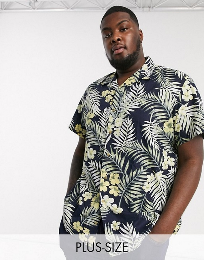 Costume homme bleu carreau joyeux classe grande taille xxl morphologie chemise vacance motifs tropical feuille fleur manche courte