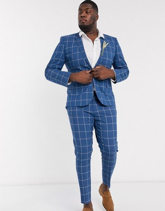 Costume homme bleu carreau joyeux classe grande taille xxl morphologie veste pantalon ajustee