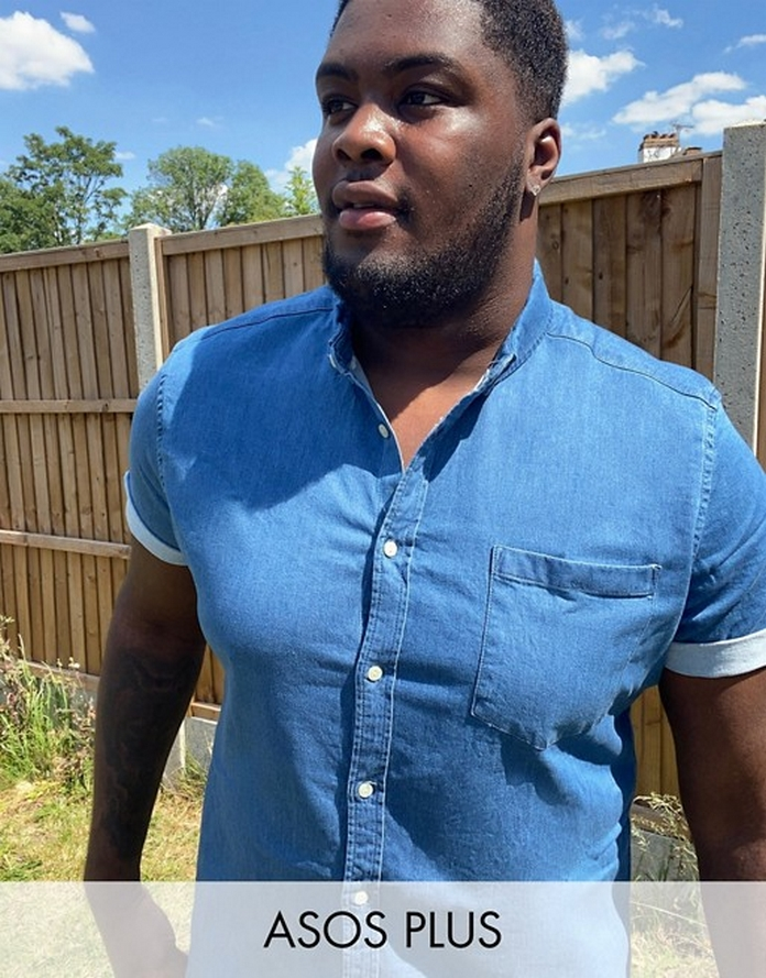 chemise homme mode tenue look large grande taille xxl jean denim bleu ete manche courte