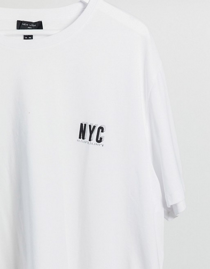 t shirt asos homme polo manche courte col rond mode homme streetwear look new york nyc blanc uni large long