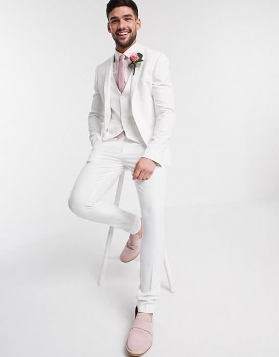 Costume blanc mariage trois pieces hommes classe uni pas cher soiree ceremonie