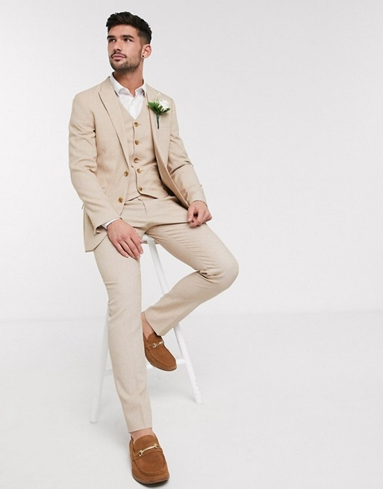 costume uni beige creme fauve blanc casse trois pieces deux pieces mariage pas cher