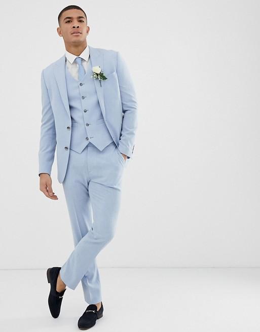 costume uni bleu clair trois pieces deux pieces mariage ceremonie pas cher