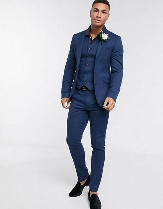 costume uni bleu fonce marine royal trois pieces deux pieces pas cher mariage soiree