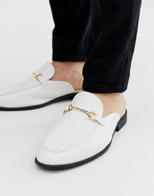 mocassin chaussure homme mule costume soiree pas cher blanc or cuir