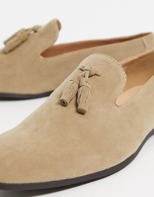 mocassin chaussure homme soiree costume taupe daim