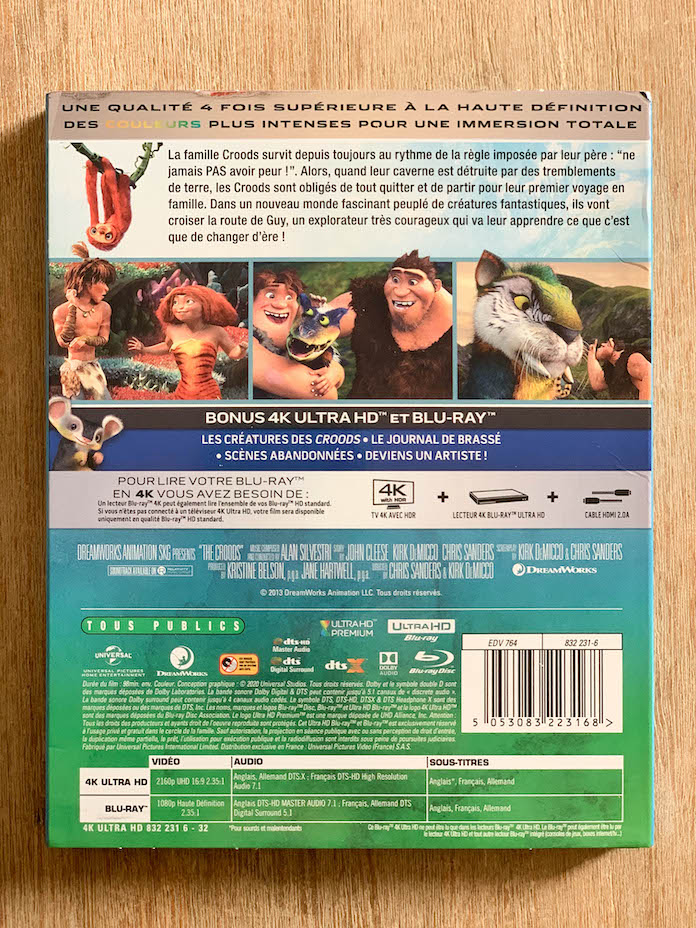 test les croods blu ray 4k bluray arriere