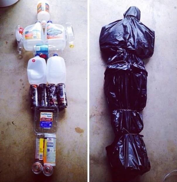 idee prank blague faux cadavre en bouteille