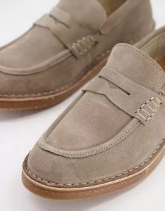 chaussure homme ete mocassin cuir simili daim marron